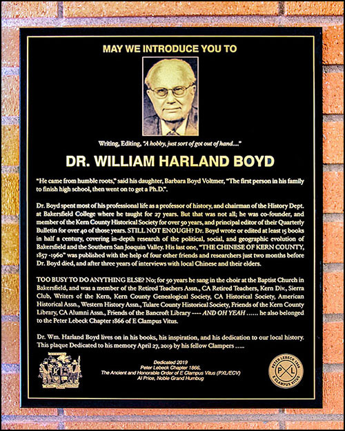 Our Spring '19 Plaque Honoring Dr. Boyd!