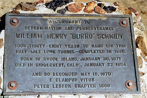 Plaque to William 'Burro' Schmidt.