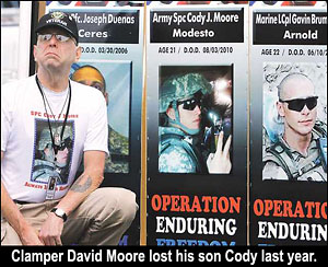 Clamper David Moore honors son Cody, who died last year.