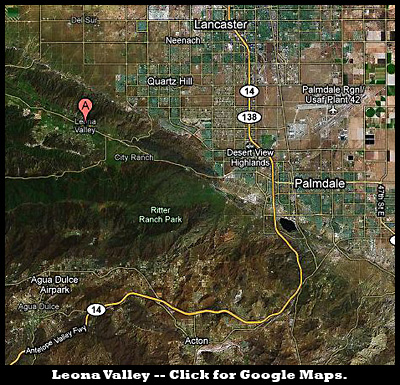 Map of Leona Valley in relation to Palmdale. Click for Google Maps.