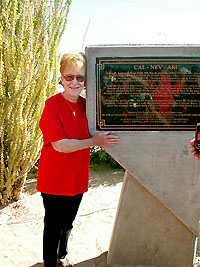 Nancy Kidwell Hugs Our, er...Monument.