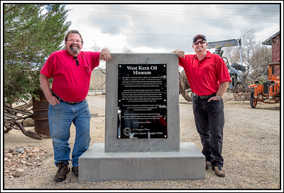 Humbug Jim Bailey on the right, with Tim Gillespie and West Kern Oil Museum plaque.