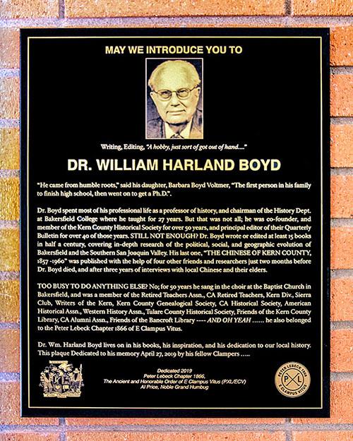 Our Spring '19 Plaque Honoring Professor Boyd!
