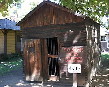 The Southern Pacific Portable Jail at Pioneer Village.