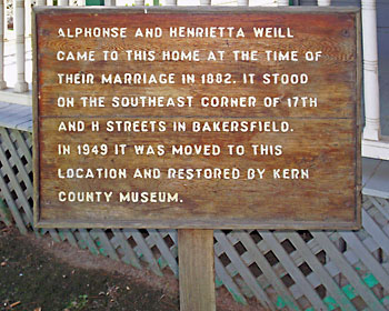 Close-up of the Sign in Front of the Weill House in Pioneer Village.