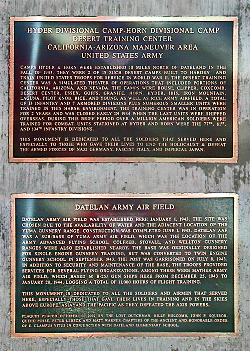 Double Plaques Commemorating WW II Desert Training Bases at Datelan, AZ.