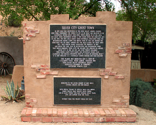 Plaque at Silver City Ghost Town Site.