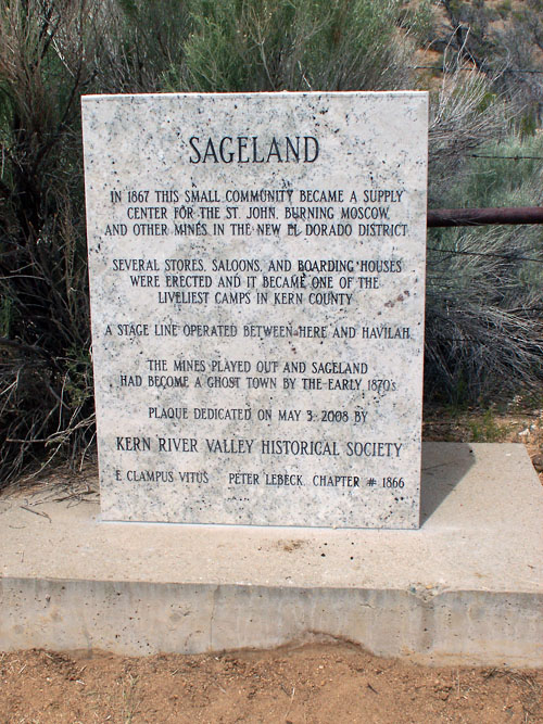 Plaque at the Sageland Ghost Town Site.