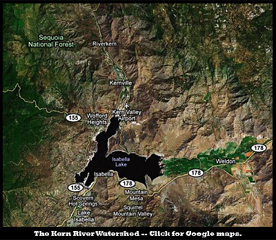 Map of the Kernville Watershed. Click for Google Maps.